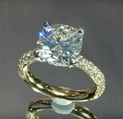 3.00Ct Cushion Cut Sparkle Diamond Wedding Engagement Ring 10k Yellow Gold FN