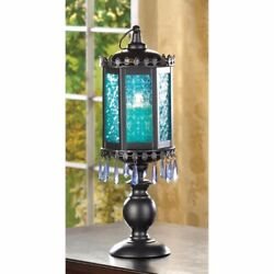 Lot of 4 Exotic Moroccan Style Pedestal Candle Lamp w Azure Blue Pressed Glass