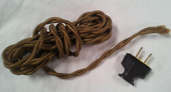 Twisted Wire Cord set w plug Vintage woven cover Free Shipping $13.25