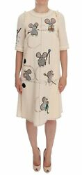 Beige Wool MOUSE Crystal Dress