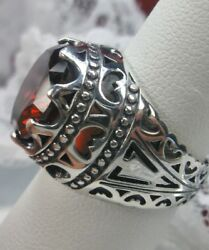9ct Round Red Garnet CZ Sterling Silver Filigree Ring Size {Made To Order}#181
