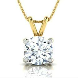 WOMAN 3.0 CT D SI2 ROUND DIAMOND 4 PRONG PENDANT 18 K YELLOW GOLD NECKLACE
