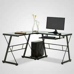 L-Shaped Desk Corner Computer Gaming PC Table Laptop W Keyboard Tray CPU Stand $127.90