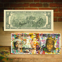 TUPAC SHAKUR & BIGGIE SMALLS Genuine $2 US Bill Hip Hop Art HAND-SIGNED by Rency