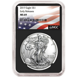 2019 $1 American Silver Eagle NGC MS69 Flag ER Label Retro Core