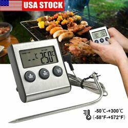 LCD Digital Meat Thermometer Barbecue Cooking Oven BBQ Grill Temperature wProbe