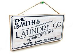 Personalized quot;Your Name#x27;squot; Laundry Co. 5quot; x 10quot; Laundry Room SIGN Custom Rustic $14.99