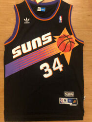 #34 Charles Barkley Phoenix Suns Black Vintage Throwback Swingman Mens Jersey
