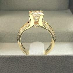 DS-R-70-120 NEW 2.05 CT E VS1 ROUND DIAMOND RING 18 K YELLOW GOLD W ACCENTS