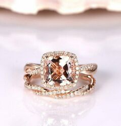3.40CT Cushion Morganite Bridal Set 10k Promise Engagement Ring Rose Gold Finish