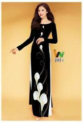 Ao Dai Traditional Vietnamese Long Dress Collections with Pants Silk print 3D $89.00