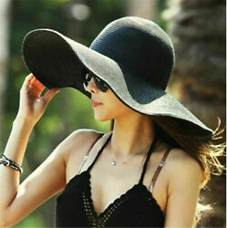 Foldable Straw Wide Large Brim Hat for Women UV Protection Summer Beach Sun Hat $9.49
