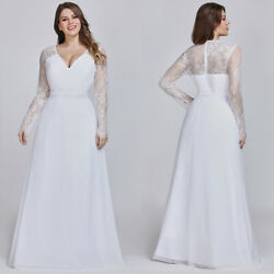 US Ever-Pretty Plus Size White Wedding Dress Long Sleeve Evening Prom Gown 08692 $44.99