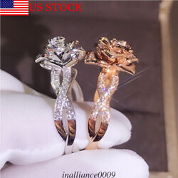 Fashion Alloy Gold-plated Rose Gold Silver Lady Wedding Band Rose Ring Sz5-10 US