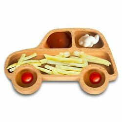 Shaped Wooden Kid's Appetizer Snack Plate  Toddler Baby Feeding Bowl
