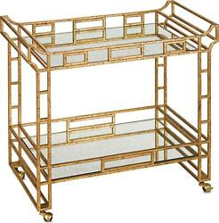 BAR CART CURREY & COMPANY ODEON SENECA GOLD LEAF LIGHT ROCHE WROUGHT