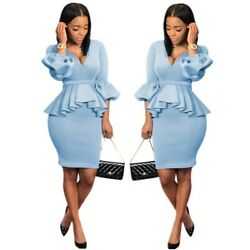 Sexy Women Solid Ruffled V Neck Puff Sleeves OL Style Bodycon Party Dress 2pc $17.53