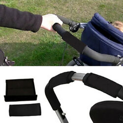 2PC Baby Pram Pushchair Front Bumper Stroller Buggy Handle Cover Protector Black