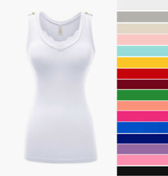 Women's V-Neck Tank Top Lace Trim Cotton Knit Stretch Casual Sleeveless Basic $10.99