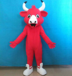 Red Bull Mascot Costume Halloween Animal Cosplay Party Game Dress Adult Handmade