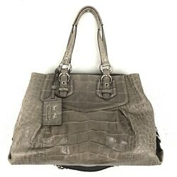 Coach Handbag 14601 Madison Carryall Exotic Croc Embossed Gray Leather