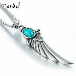 MENDEL Mens Angel Wing Charm Pendant Necklace Stainless Steel Turquoise Silver $12.99