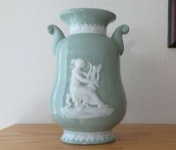 Antique Celadon Pate sur Pate Vase Woman Playing Lyre 8 12 inches