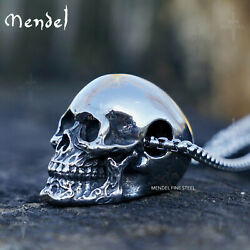 MENDEL Gothic Mens Biker Skull Pendant Necklace Men Stainless Steel Chain Silver
