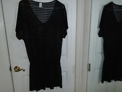 Kenneth Cole Reactiion Black Cover Up Beach Dress Size Medium $8.99