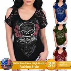 Women Lace Skull Gothic Print Tops Short Sleeve Punk Style Summer Loose T-shirts
