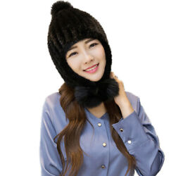 Winter Fur Bomber Hat Women Real Mink Fur Earmuffs Cap With Fox Fur Pompom $29.99