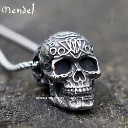 MENDEL Vintage Gothic Mens Punk Biker Skull Pendant Necklace Men Stainless Steel