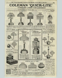 1922 PAPER AD Coleman Quick Lite Lanterns Lamps Wall Ceiling Air O Lite Arc Lamp $25.97