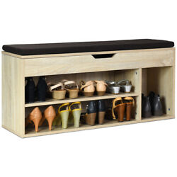 Wooden Rack Shoes Bench WStorage Shelf Upholstered Shoe Rack Entryway Hallway