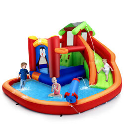 Inflatable Slide Bouncer and Water Park Bounce House w Splash Pool Water Cannon