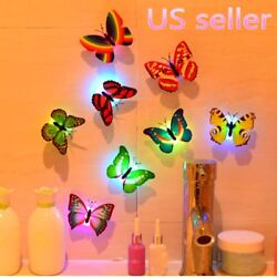 10Pcs 7-Color Changing Cute Butterfly LED Night Light Lamp Home Room Decoration