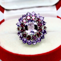NATURAL 8 X 10 mm. OVAL PURPLE AMETHYST & RHODOLITE GARNET RING 925 SILVER