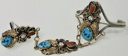 Yazzie HBY Slave Bracelet - Gold Plated Silver Tribal Turquoise Coral - Size 9.5