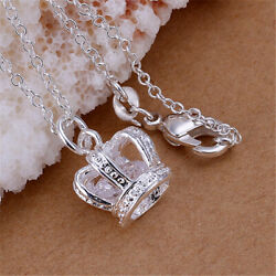 Pretty 925 Silver wedding party cute Necklace Jewelry charm women Crown P162