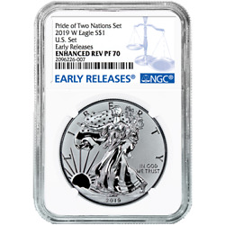 2019-W Reverse Proof $1 American Silver Eagle NGC PF70 Blue ER Label Pride of Tw