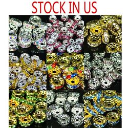 100pcs Swarovski Czech Crystal Rhinestone Rondelle Spacer Beads 456810mm