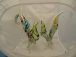 Murano Pair of Birds 11 in. High Cased Gorgeous Rare Art Glass $186.99