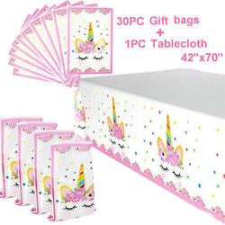 Unicorn Party Supplies 30 Pack Plastic Bags amp;amp; Tablecloth Set Gift Treat $11.22