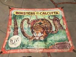 Vintage DeWayne Bros Circus Painted Sideshow Banner 1960s - Monsters of Calcutta