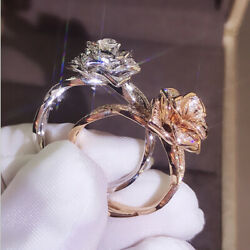 Gorgeous Flower Two Tone 925 Silver Floral Ring 14k Rose Gold Wedding Jewelry