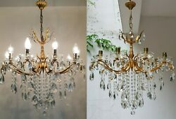 Matching Pair of Antique Vintage 10 Arms  Brass & Crystals Chandelier Lighting