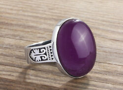 Oval Purple NATURAL AMETHYST in 925 Solid Sterling Silver Mens Ring  All Sizes