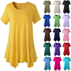 Plus Size Women Cotton Tunic Tops Swing Short Sleeve Blouses Loose T-Shirt Dress