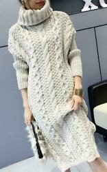 Women high collar sweater Thicken Pullover Dress Long Blouses Slim Fit Tops Size $60.07