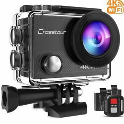 Crosstour Action Camera 4K 16MP WiFi Underwater 30M with Remote Control IP68 WP`